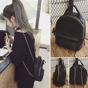 Women-039-s-Small-Mini-Faux-Leather-Backpack-Rucksack-Daypack-Chain-Purse-Cute-bag