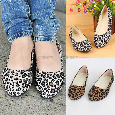 Fashion Womens Ladies Leopard Pumps Flat Pumps Ballerina Ballet Dolly Shoes