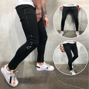 NUOVA-linea-uomo-Super-Skinny-Fit-Strappato-Jeans-Stretch-Biker-Denim-Pantaloni