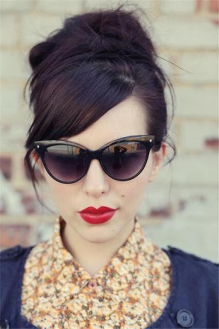 Designer Fashion Vintage Retro Sexy Cat Eye Women Lady Large Sunglasses Glasses
