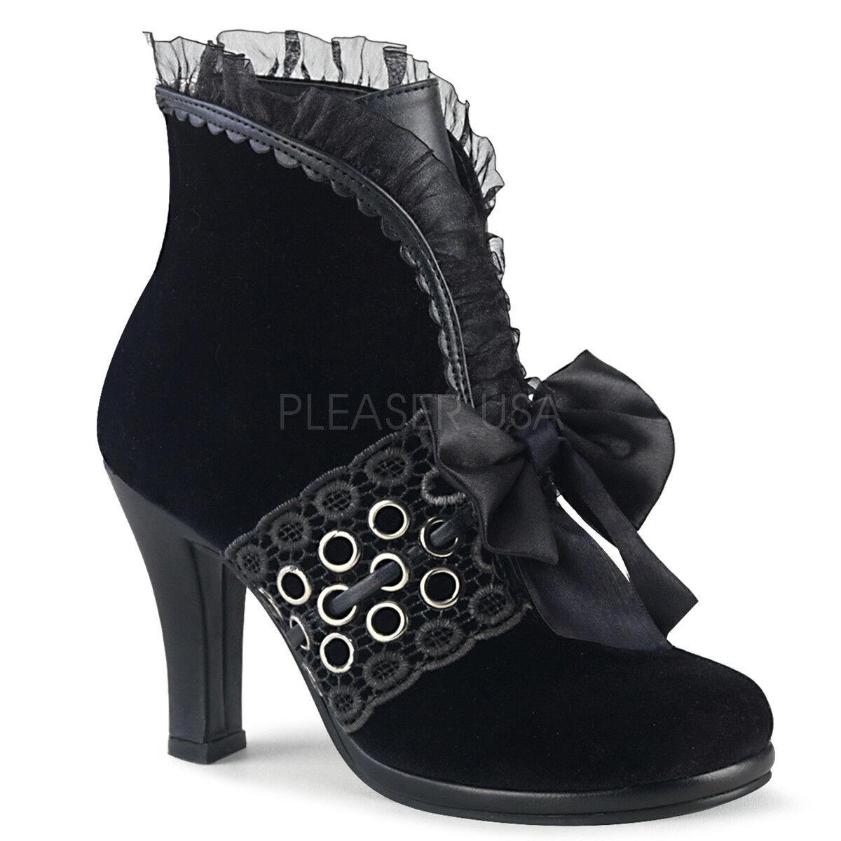 Demonia 3.75 3.75 3.75  Heel Black Velvet Ruffle Bow Grommeted Ankle Boots Glam Goth 6-12 cb6162