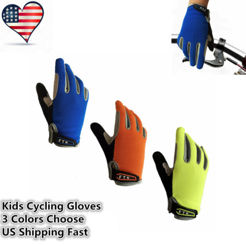 Kids Bicycle Gloves Full Finger Easy Put On And Off Boys Girl Scooter Bike Sport