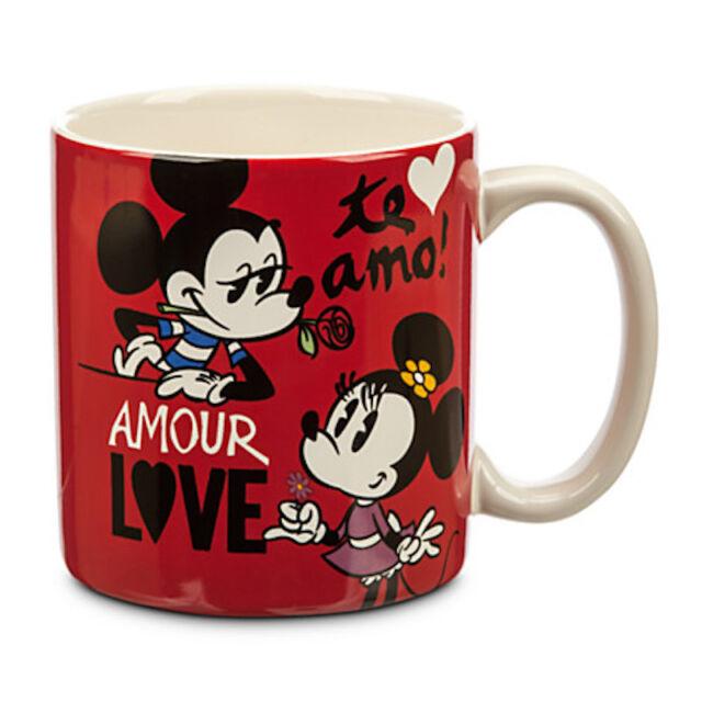Disney Store Mickey And Minnie Love Amour Te Amo Mug New With Box