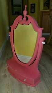 Vintage Wood Framed Swivel Mirror w/ Drawer - Vanity Stand Dresser Table Top