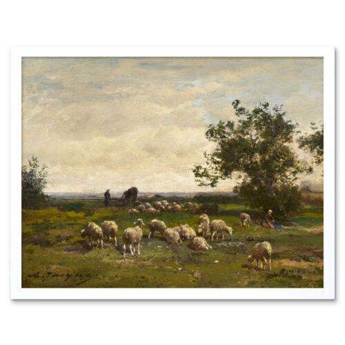 Charles Emile Jacque paisaje con ovejas C1855 Pintura Pared Arte Impresión Enmarcado 1