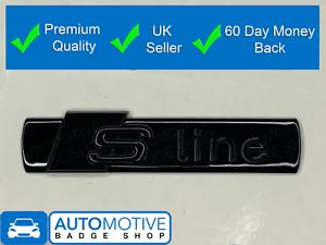 S-Line-Noir-Brillant-Badge-Arriere-Coffre-Embleme-Autocollant-Cote-Aile-Fender-Sline