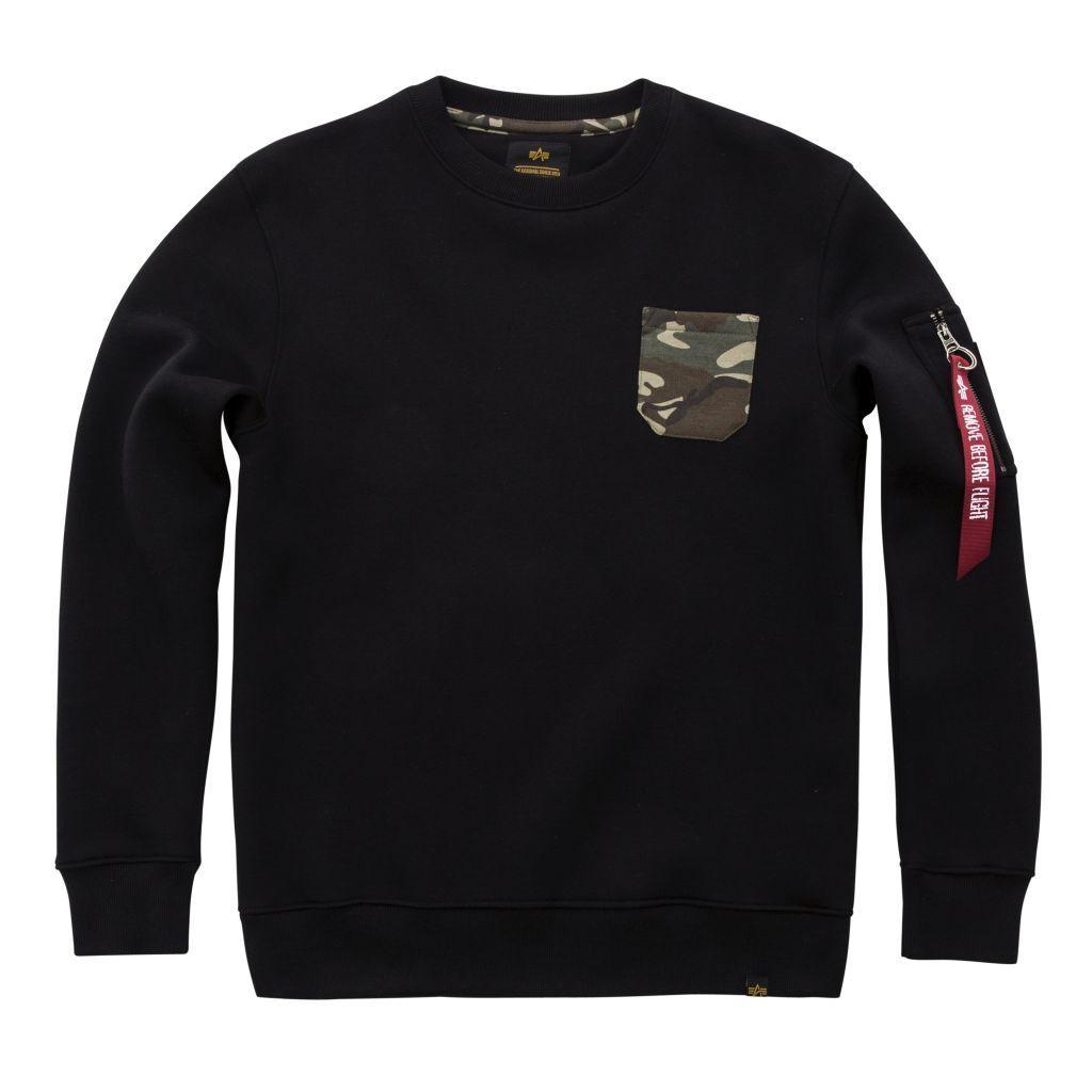 Alpha Industries Basic Sweater Camo Pocket Sweater schwarz