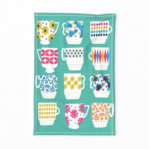 Spoonflower Tea Towel Kitchen Teacups Vintage 1950s Mid Century Linen Cotton