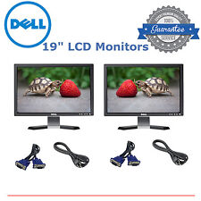 """Matching DUAL Dell Ultrasharp 19"""" Widescreen LCD Monitors Gaming cables Included"""