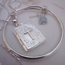 """Bible Locket//Blue Ted,Boy /sterling Sil Chain 16""""chain/boxed."""