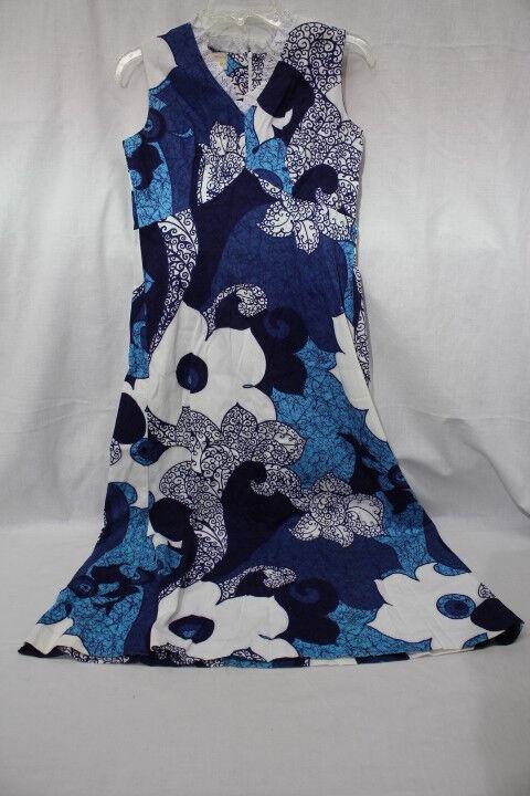 Vintage ROYAL HAWAIIAN bluee & White Floral Dress Womens Size S Hawaii-B19