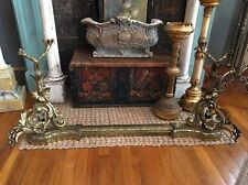 FRENCH ANTIQUE BRONZE ANDIRONS FIREPLACE GUARD SURROUND RARE ORNATE SALE