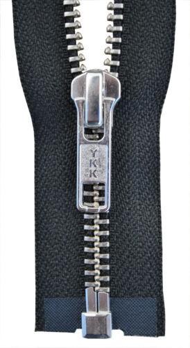 YKK Reißverschluss von 50-100 cm 5mm metall silber farbend schwarz 1 Weg teilbar