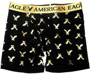 MENS AMERICAN EAGLE ATHLETIC TRUNK BLACK/GOLD BOXER BRIEF SIZE S (29/31)