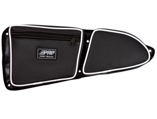 WHITE Piping PRP Seats Polaris RZR XP 1000 Door Bag w// Knee Pad Set of 2 PAIR