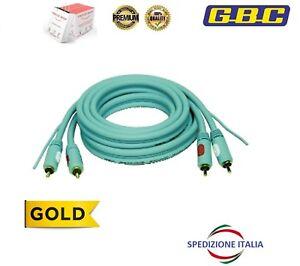 Cavo-2-mt-Audio-Stereo-Professional-2-RCA-2-RCA-Maschio-Contatti-Dorati