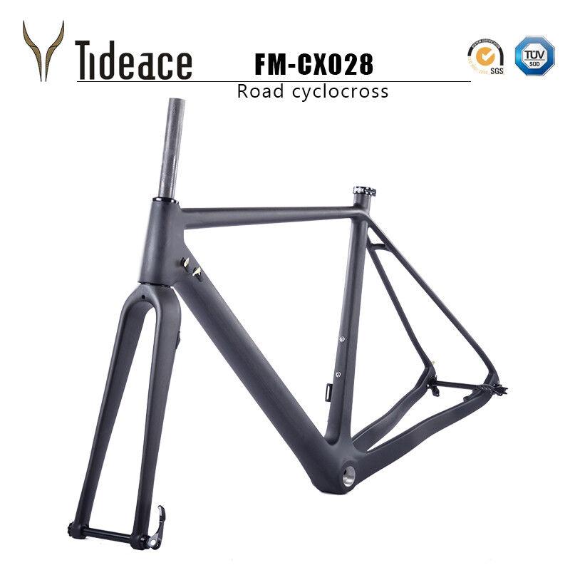 T800 GHIAIA IN FIBRA DI CARBONIO CICLISMO STRADA FRENO A DISCO BICICLETTA telaio frame cyclocross