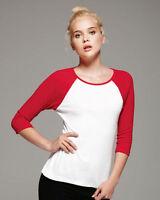 Bella Ladies Baseball Raglan 3/4 Sleeve T-Shirt Womens TEE 4 Colors S-2XL 2000