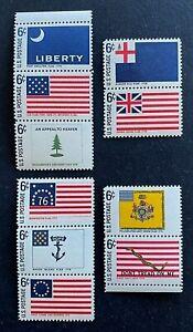 US Stamps, Scott #1345-54 Singles Of Historic Drapeau série 1968 XF/SUP M/jamais charnière Fresh