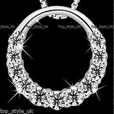 925 argento Sterling Hollow Infinity Love CERCHIO CZ Diamante Collana Ciondolo & LT3