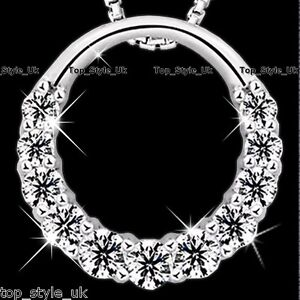 925-Sterling-Silber-Hohl-Infinity-Love-Kreis-CZ-Diamante-Kette-Anhaenger-lt-3
