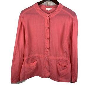 Eileen Fisher Woman Sz 2X Pink 100% Irish Linen Button Front Blazer Plus Size