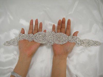 Gorgeous Pearl Diamante Wedding Applique Rhinestone Bridal Applique Beaded Motif