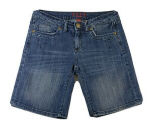 Elle Paris Womens Blue Jean Shorts Size 4 Small S Cotton Bermuda Pockets