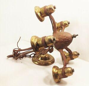 Vtg-antique-cast-aluminum-deco-nouveau-5-bulb-hanging-light-fixture-ornate