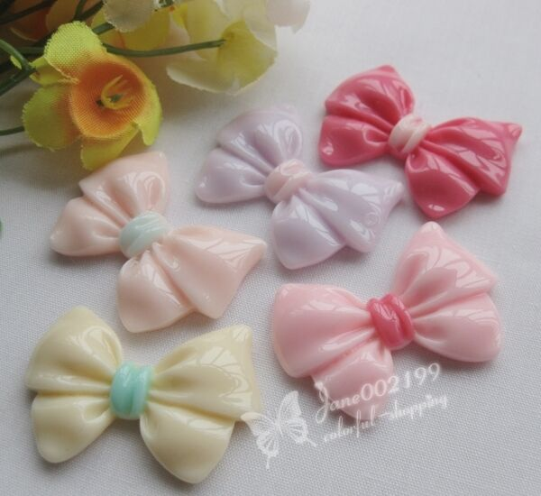 20/100pcs Upick Bowknot Flatback Resin Buttons Scrapbooking DIY Appliques JOB045