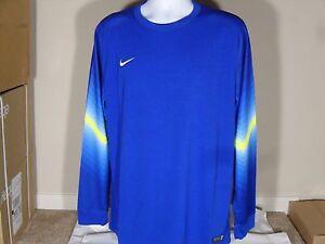 1d039ddcbd6 New Mens Nike Goleiro GK Goalkeeper Soccer Jersey LS Blue Volt  85 ...