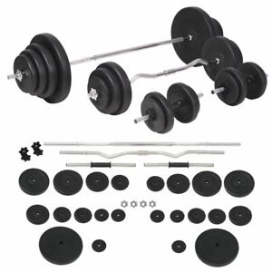 vidaXL-Barbell-and-Dumbbell-Set-120kg-Gym-Exercise-Training-Weight-Plate-Disc