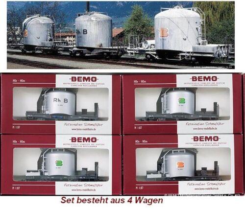 7459110 Schmalspur-Zementwagen-Set 4-teilig RhB silbern neu BEMO H0m 7459 110