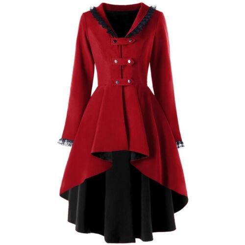 Women Vintage Steampunk Gothic Lace Outwear Tailcoat Winter Warm Overcoat Jacket