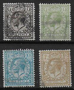 1912-Wmk-Simple-Cypher-9d-Both-Colours-10d-amp-1s-Fine-VFU-Ref-06112