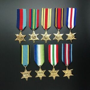 WWII-MEDAL-COLLECTOR-SET-ALL-9-STAR-MEDALS-WORLD-WAR-TWO-MILITARY-ARMY