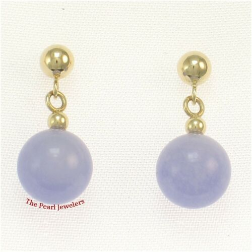14k Solid Yellow Gold Ball Drop//Dangle Lavender Jade Bead Stud Earrings TPJ