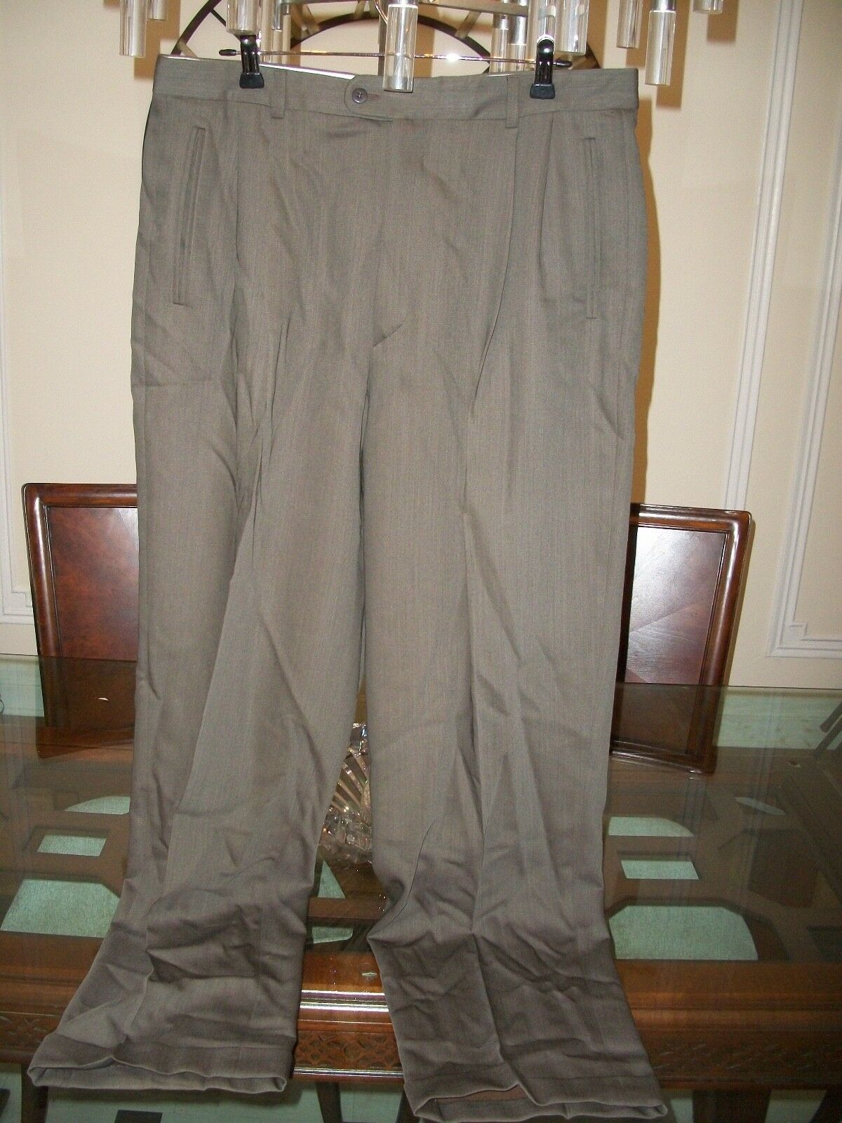 Used ZANELLA PLATINUM brown  Duncan  pleated dress pants size 36 x 33