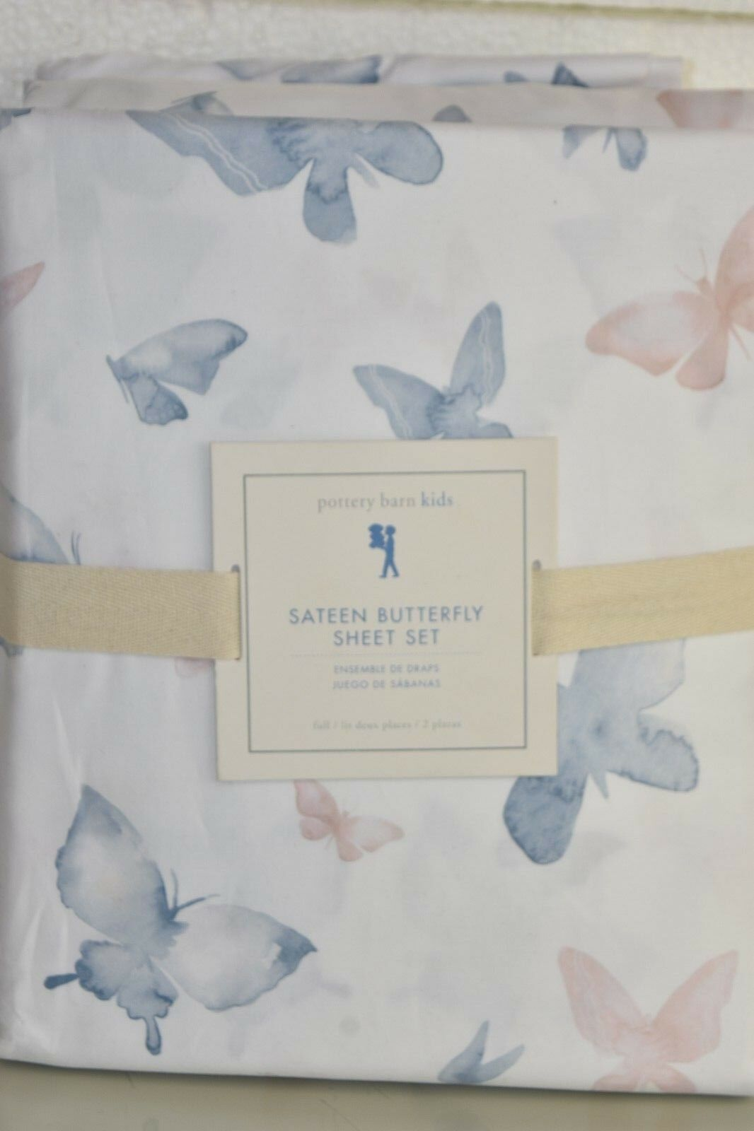 NEW Pottery Barn Kids SATEEN BUTTERFLY SHEET SET 4 PC White blueeeee Pink FULL