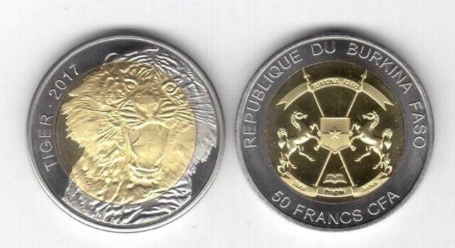 BURKINA FASO  BIMETAL 50 FRANCS CFA UNC 2017 YEAR TIGER