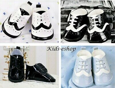 Baby Boy Patent Soft Shoes Christening Wedding Smart Formal Party Black White