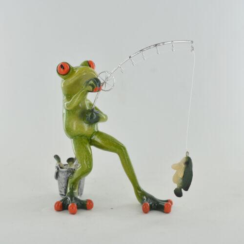 Comical Frogs Fishing Frog Small Resin Figurine Home Decor Fun Gift 80320
