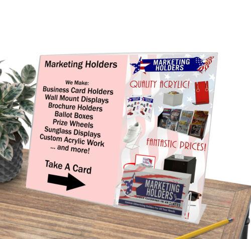 """Sign Holder Ad 11/""""W x 8.5/""""H Frame With Business Card Holder Slant Back"""