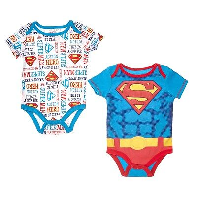 Baby Boys Superman Bodysuit 12 Months Creeper Outfit One Piece Superhero Winter