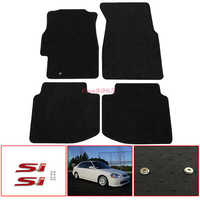 Fit 96-00 Honda Civic Nylon Floor Mats Carpets W// Screw on SI Emblem Decal Badge