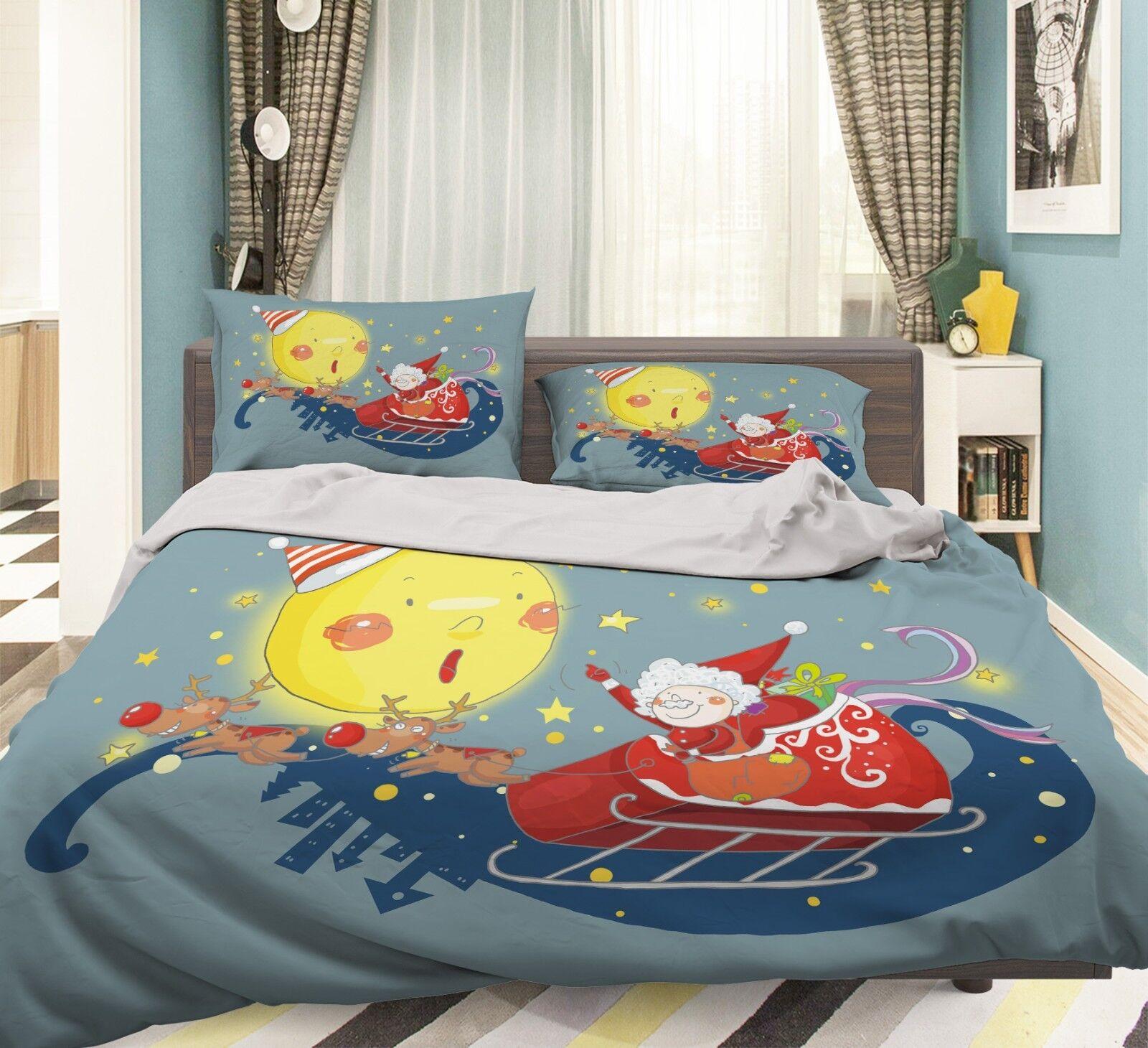 3D Santa Claus 3 Bed Pillowcases Quilt Duvet Cover Set Single Queen King Size AU