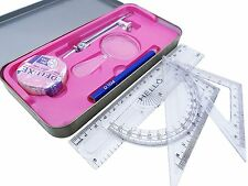 Deluxe Drawing Instruments Maths Set Compass Rulers,Eraser,Protractor Geometry