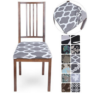 Stretch Dining Chair Seat Covers Removable Seat Cushion Slipcovers Protector Ebay