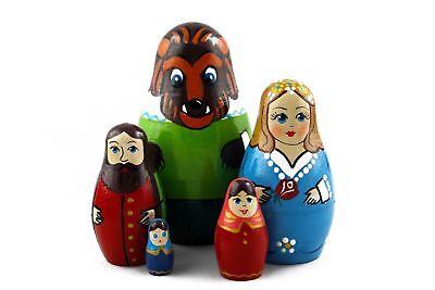 Lot 8 Matryoshka Russian Nesting Doll Wooden Puppe Poupee Babushka Craft 5 pcs