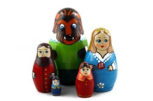 Matryoshka Russian Nesting Doll Wooden Craft Babushka Beauty and Beast 5 pcs